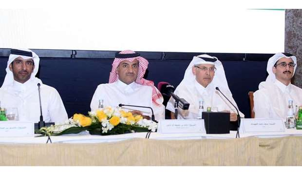 Sheikh Khalid (second left) at the Gulf International Services (GIS) shareholders meeting at the Fou