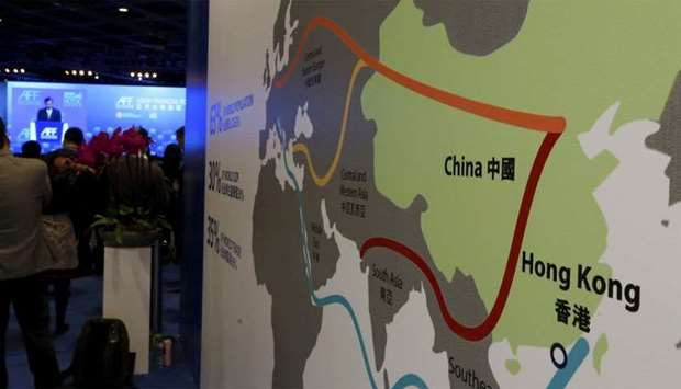 A map illustrating China's silk road economic belt and the 21st century maritime silk road, or the s