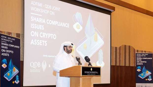 "Al-Khalifa addressing the workshop on ""Shariah Compliance Issues of Crypto assets"" QDB hosted in ass"