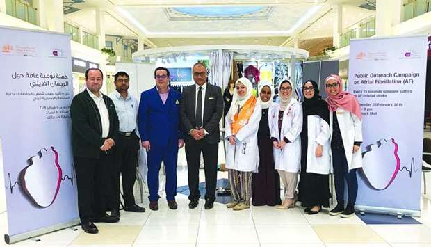 QU-CPH officials and students at the public awareness campaign on atrial fibrillation.