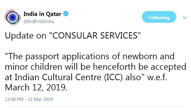 A tweet by the embassy on the new service.