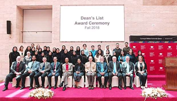 Carnegie Mellon University in Qatar's Dean's List awardees-seniors.