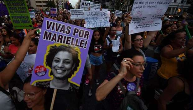 Slain Rio de Janeiro's councillor and activist Marielle Franco is remembered during a demonstration