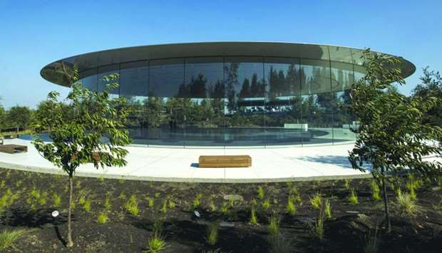 The Steve Jobs Theater stands on the Apple campus in Cupertino, California