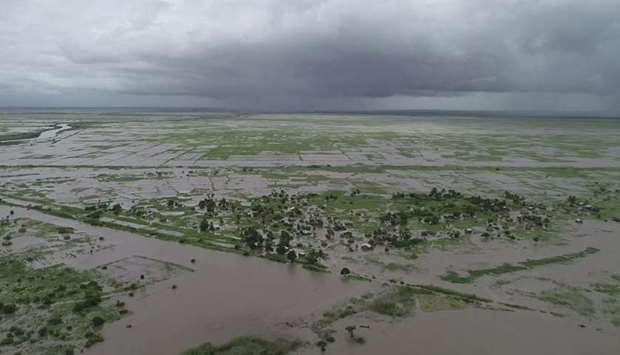 An aerial view of flooded areas in  Zambézia, Mozambique.