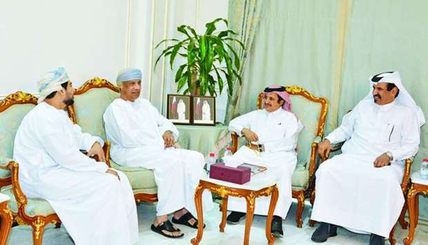 Sheikh Khalifa and al-Kuwari receiving al-Baloushi during a meeting held recently in Doha