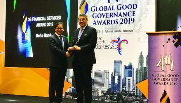 "Doha Bank received the ""3G Financial Services Award 2019"" at the Global Good Governance (3G) Awards"