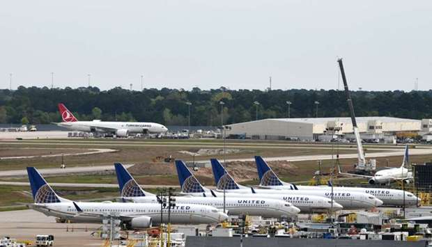United Airlines planes, including a Boeing 737 MAX 9 model, are pictured at George Bush Intercontine