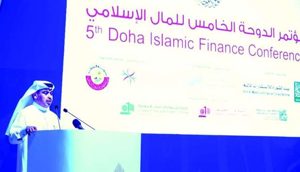 HE al-Kuwari addressing the 5th Doha Islamic Finance Forum.