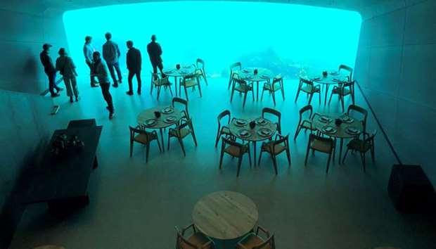 An inside view of the underwater restaurant Under in Baaly, Norway