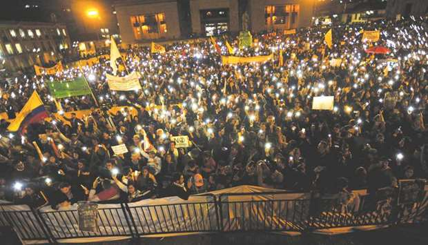 Thousands march for peace in Colombia