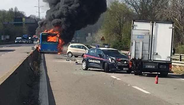Italian hijacked bus set on fire