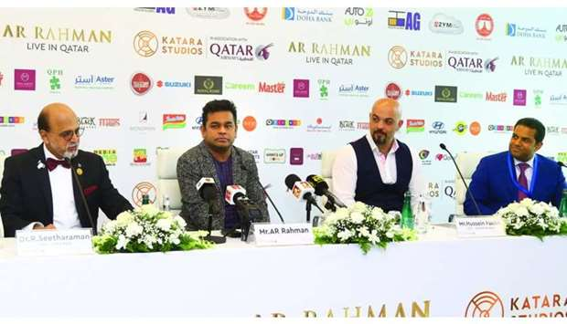 A R Rahman (second left) at the press conference along with Dr R Seetharaman, Hussein Fakhri and Moh