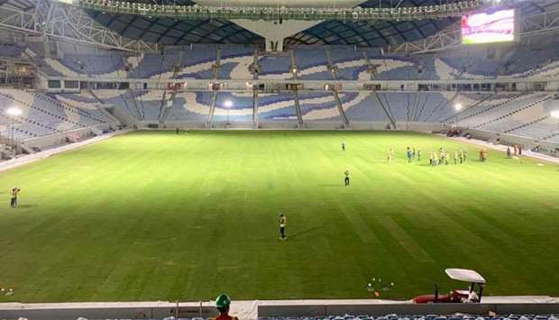 Al Wakrah Stadium after completion of turf laying
