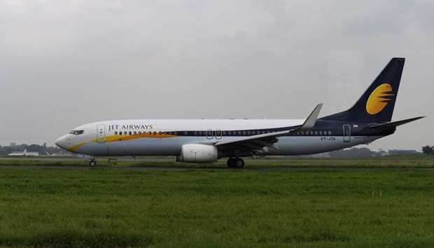 Jet Airways plane at Indira Gandhi International Airport in New Delhi