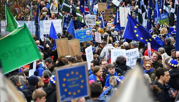 EU supporters, calling on the government to give Britons a vote on the final Brexit deal, participat