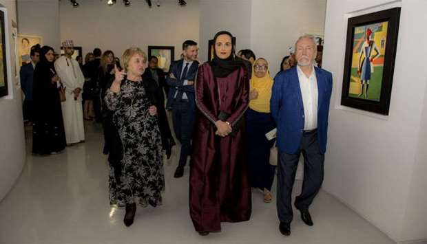 HE Sheikha Al Mayassa bint Hamad al-Thani with other dignitaries.