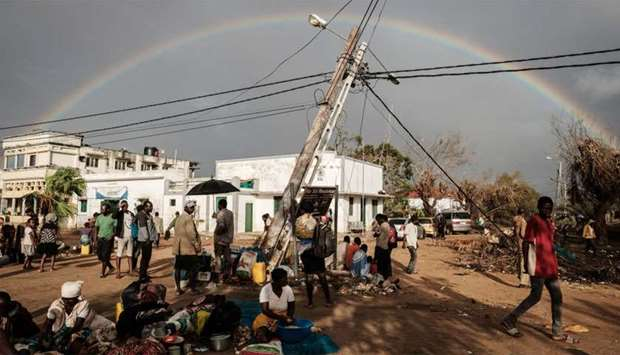 A rainbow appears in the sky in Buzi, Mozambique after the area was hit by the Cyclone Idai.