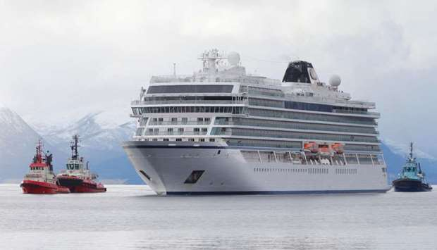 Viking Sky cruise ship arrives, after problems the ship got in the storm outside of Hustadvika, at M