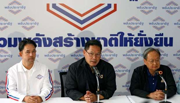 Uttama Savanayana, Palang Pracharat Party leader, holds a news conference after the general election