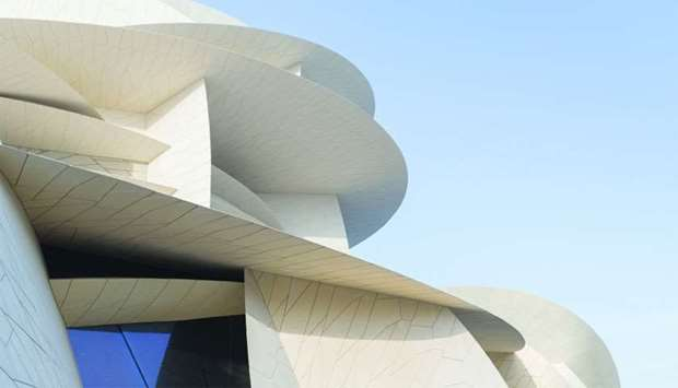 A close-up view of the interlocking disks of the new National Museum of Qatar.