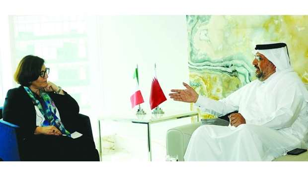 Italian Defence Minister Elisabetta Trenta with Gulf Times Editor-in-Chief Faisal Abdulhameed al-Mud