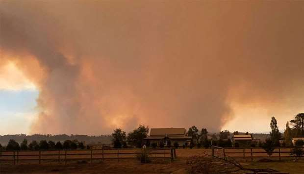 Smoke rising from the bushfire burning in Victoria's east, Australia