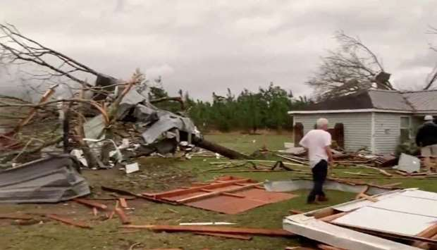 Debris of housing seen following a tornado in Beauregard, Alabama, US in this still image obtained f