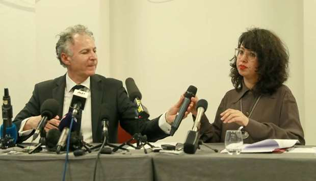 Lawyers of Carlos Ghosn's family, François Zimeray (L) and Jessica Finelle give a press conference i