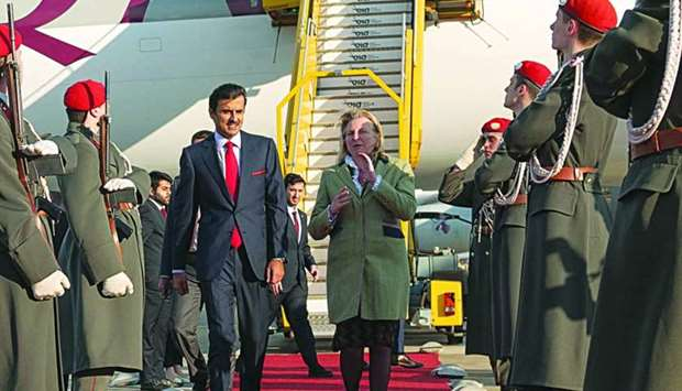 His Highness the Amir Sheikh Tamim bin Hamad al-Thani is being welcomed by Austrian Minister for For