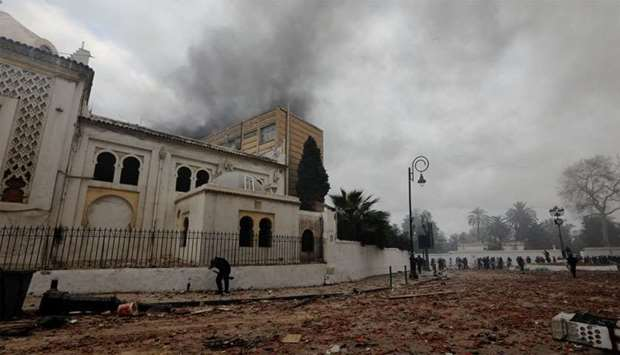 The National Museum of Antiquities and Islamic Art is seen during clashes between anti-riot police a