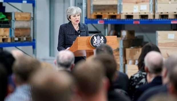 British Prime Minister Theresa May delivers a speech during her visit in Grimsby