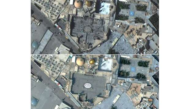 This combination of pictures created on March 5, 2020 using handout satellite images released on Mar