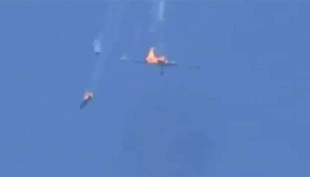 Syrian govt plane falls after being hit