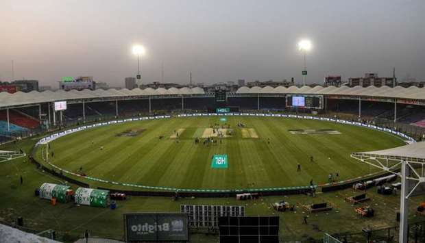 A general view of the empty cricket spectators enclosures before the start of the T20 cricket match