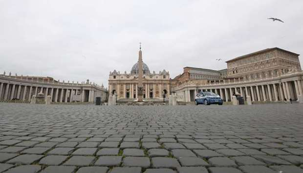 view of St. Peter's Square, on the fourth day of an unprecedented lockdown in Vatican