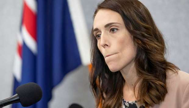 New Zealand Prime Minister Jacinda Ardern pauses during a news conference prior to the anniversary o