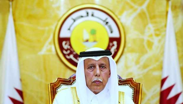HE the Speaker of the Council Ahmed bin Abdullah bin Zaid al-Mahmoud chairing Monday's session