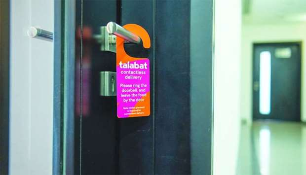 Talabat will distribute door hangers that customers can leave to indicate that a contactless drop-of