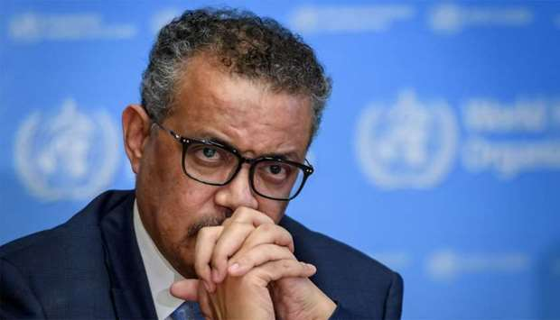 WHO Director-General Tedros Adhanom Ghebreyesus attends a daily press briefing on the new coronaviru