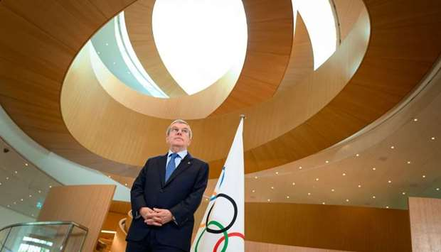 In this photograph taken on March 3, 2020 International Olympic Committee (IOC) President Thomas Bac