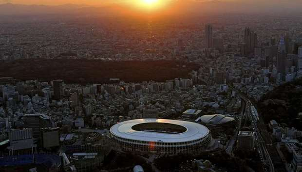 An aerial view shows the National Stadium in Tokyo, the main venue for the Tokyo Olympics and Paraly