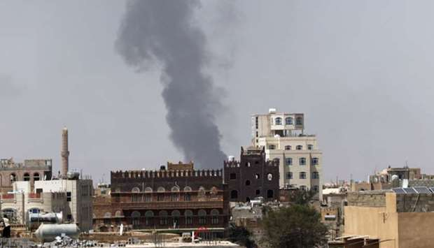 Smoke billows from the site of a Saudi-led air strike in Sanaa, Yemen