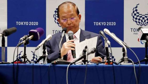 Toshiro Muto, Tokyo 2020 Organizing Committee Chief Executive Officer, attends a news conference aft