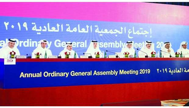 Al-Khater and al-Othman with other UDC directors at the company's ordinary general assembly here. PI