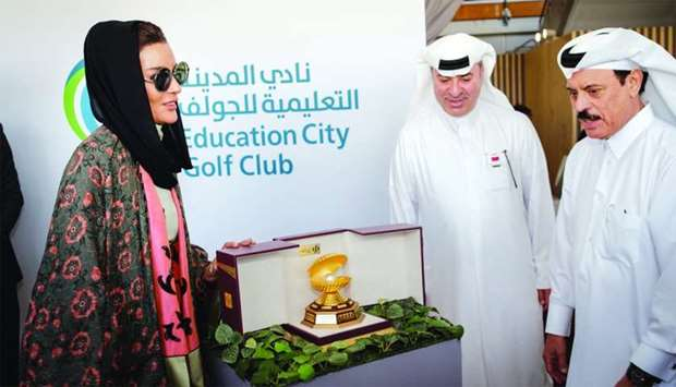 QF chairperson Her Highness Sheikha Moza bint Nasser, Commercial Bank managing director Omar Hussain