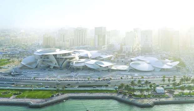 Aerial view of the National Museum of Qatar designed by Jean Nouvel.