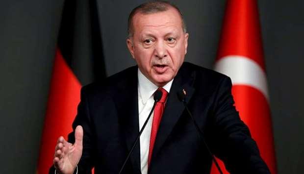 Turkish President Tayyip Erdogan speaks during a news conference in Istanbul, Turkey, January 24