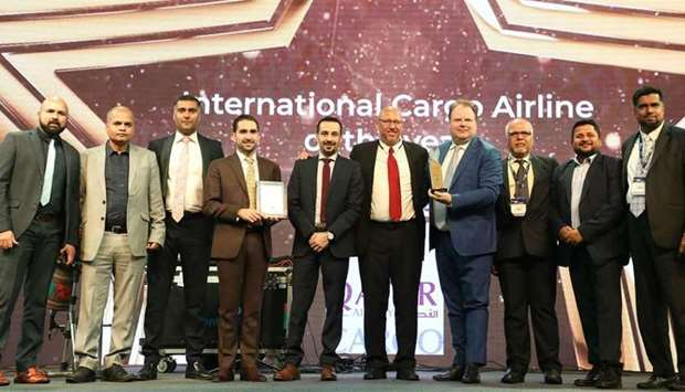 "Qatar Airways Cargo was presented with the ""International Cargo Airline of the Year"" award at the ST"