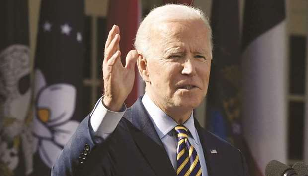 US President Joe Biden gestures as he speaks during an event on the American Rescue Plan in the Rose